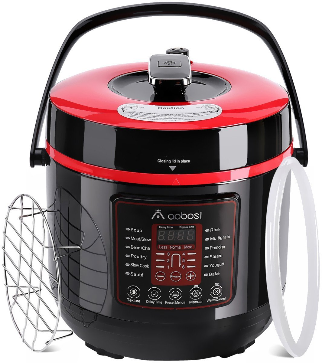 Aobosi Pressure Cooker 6Qt 8-in-1 Electric Multi-cooker,Rice Cooker,Slow Cooker,Sauté,Yogurt Maker,Steamer|6 Pressure Levels|Safe Release Button|Free Cooking Rack,Cookbook,Sealing Ring,Stainless Steel