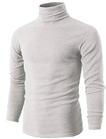 44e37053cfb5 Romanstii T-Shirt Homme Slim Fit Col Roule Manche Longue sous-vetement  Thermique -