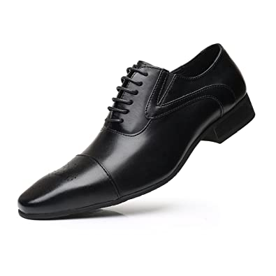 ed29a4947b99 Men's Leather Dress Shoes Classic Modern Oxford Round Cap Toe Lace up  Casual Formal Business Shoes
