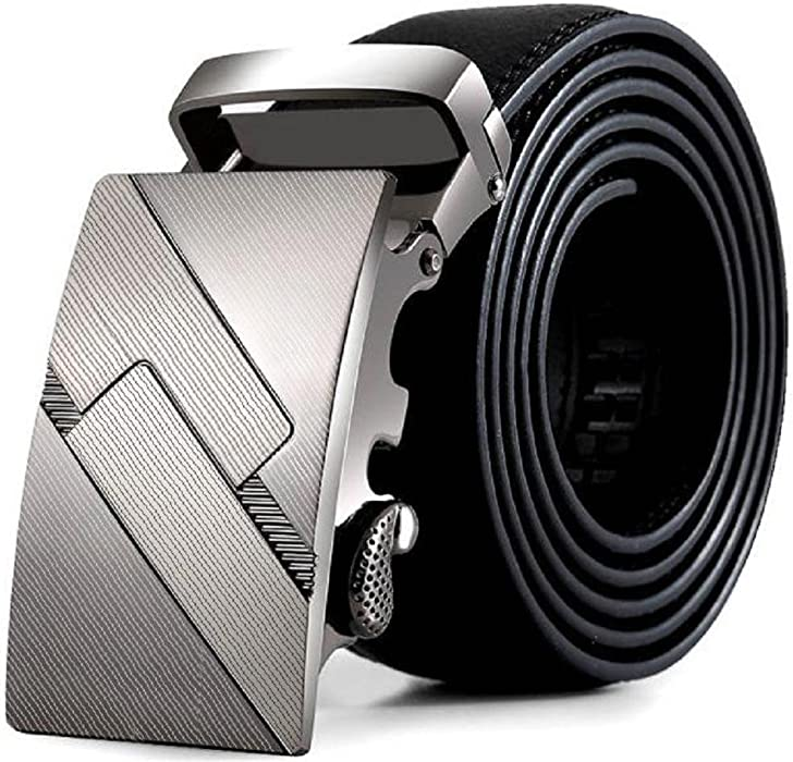 Luxury Men/'s Leather Automatic Buckle Waist Strap Belts Trousers Waistband Black