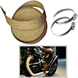 Guance Silencer Wrap with Clamp Bike Exhaust Heat Shield Length-3 Metre Beige for Royal Enfield Classic 350 BS4 Model