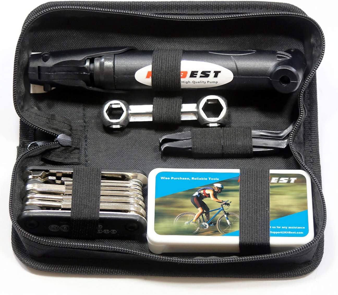 Kitbest Bike Repair Tool Kit. Bicycle Tire Pump, Tire Puncture Repair Kit, Bike Multi Tool Set, Glueless Tire Patches, Bicycle Tire Lever and Portable Bike Bag. Emergency All in One Bike Tool : Sports & Outdoors