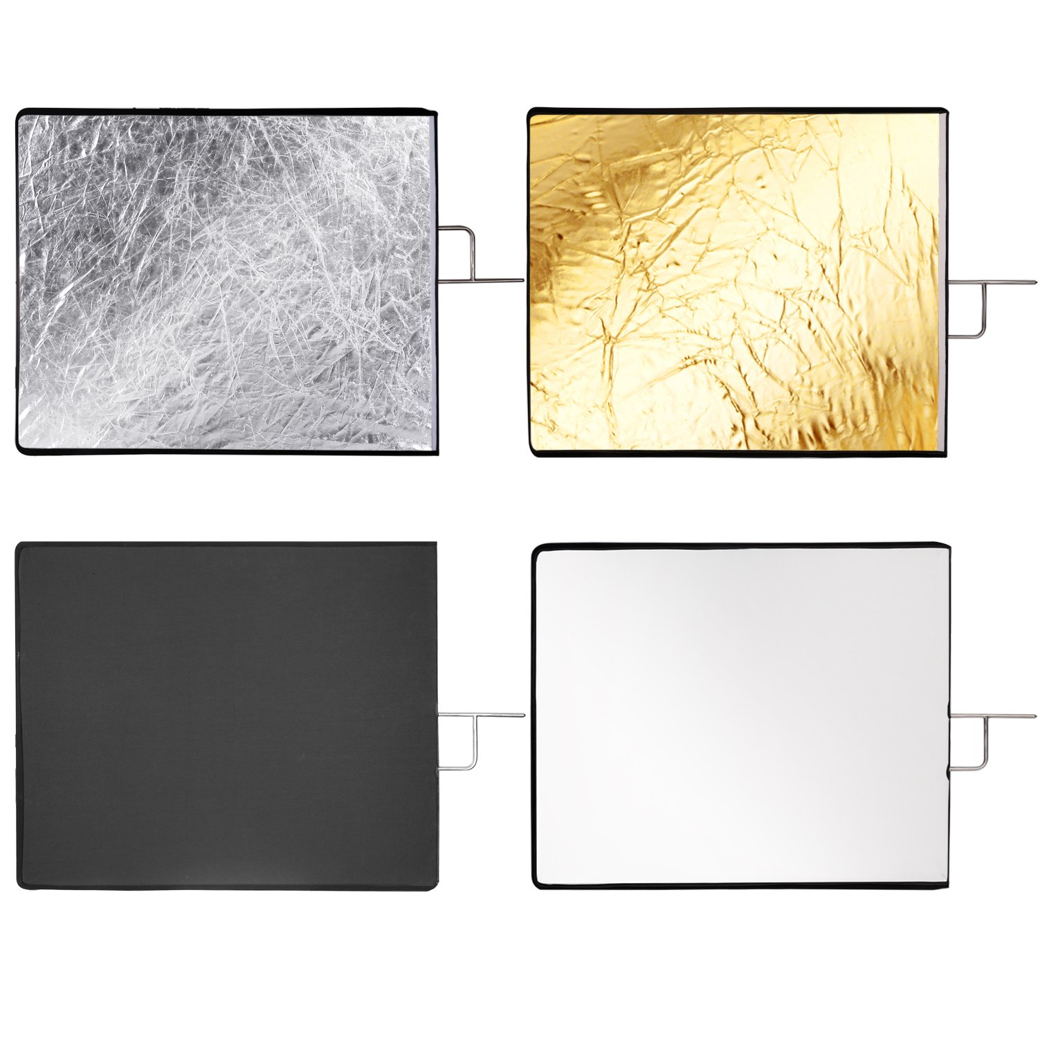 Neewer 30x36 inches 4-in-1 Metal Flag Panel Set Reflector with Soft White, Black, Silver and Gold Cover Cloth for Photo Video Studio Photography by Neewer (Image #4)