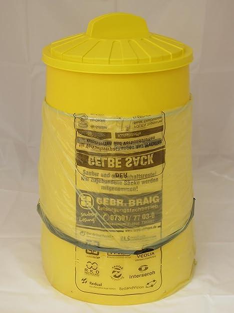 Sacktonne Gelb Für Gelben Sack Mit Gelbem Deckel Und Metallring Mülleimer  Müllsackständer U2026