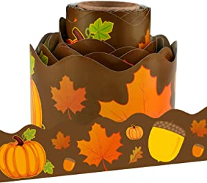Autumn Leaves Acorns Pumpkins Scalloped Bulletin Board Border for Classroom Decoration 36 Feet