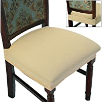 BUYUE Dining Room Chair Covers Stretch Jacquard Chairs Easy Installation Upholstered Armless Chair Protectors, Rear…