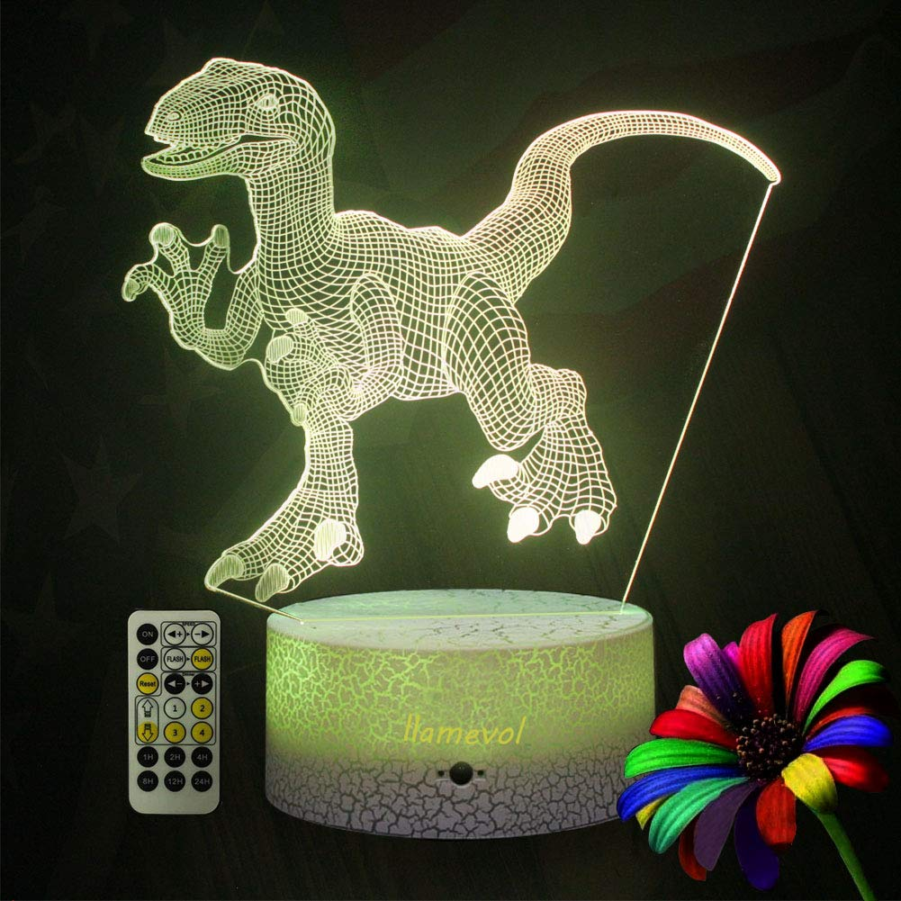 LLAMEVOL Dinosaur Night Lights for Kids Birthday Indoraptor Toy 3D Illusion Lamp Dino Gifts for Boys Home Bedroom Party Supply Decoration 7 Color Blue Raptor Remote Timer by LLAMEVOL (Image #5)