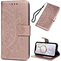 iPhone XR Case 6.1 inch, Wallet Flip Folio Case Kickstand Card Slots Embossed Mandala Flower Floral PU Leather Wallet Shockproof Soft TPU Inner Bumper Slim Protective Skin Cover for iPhone XR