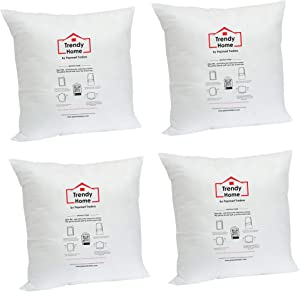 Trendy Home 20x20 Premium Hypoallergenic Stuffer Home Office Decorative Throw Pillow Insert, Standard/White 20x20(4pack)
