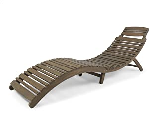 Christopher Knight Home 305056 Tycie Outdoor Acacia Wood Foldable Chaise Lounge, Gray Finish