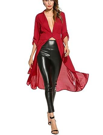 e84285edb51f Zeagoo Women's Irregular Hem Plunge Neck Split Maxi Chiffon Cardigan Shirt,Wine  Red,Large: Amazon.co.uk: Clothing