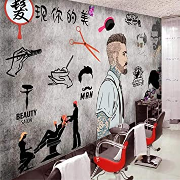 Generic Custom Wallpaper Cement Wall Beauty Salon Barber Shop Background Wall Decoration Silk Fabric 140100cm 5540in Amazon Com