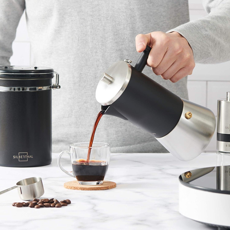 Caffettiera Espresso Caffettiera 6 Tazze Caffettiera Acciaio Inox Caffettiera Moka SILBERTHAL Caffettiera induzione