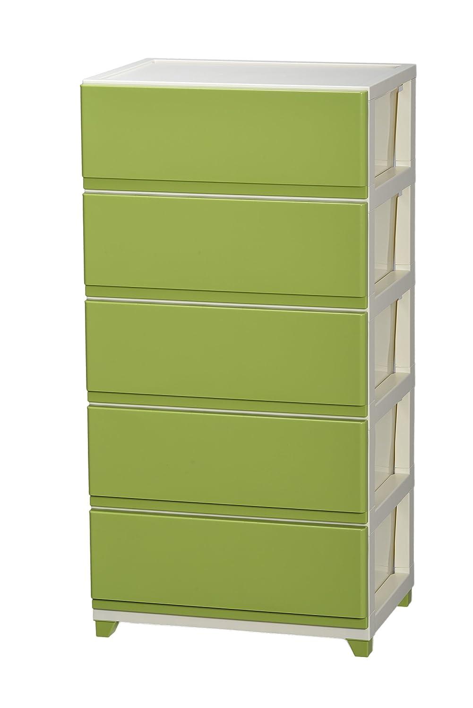 JEJ プラスチック収納ワイドチェスト5段 IVグリーン B01IHAYYX8 グリーン グリーン