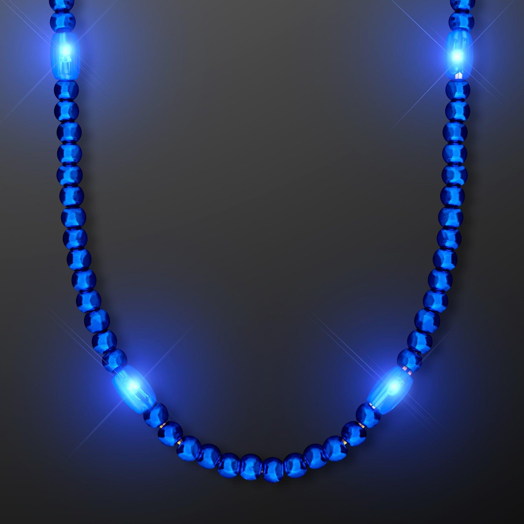 FlashingBlinkyLights Blue Light Up LED Mardi Gras Bead Necklaces (Set of 12)