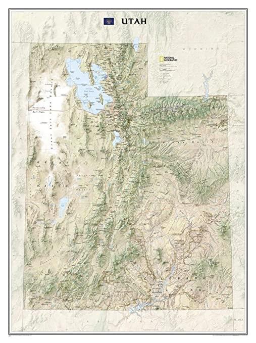 Amazon Com Utah State Laminated Wall Map Office Products