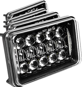 Newest Lens 60W 4x6 Inch LED Headlights with DRL for H4651 H4652 H4656 H4666 H6545 Freightliner Kenworth Peterbilt International Volvo Sterling Western Star Mack(Black 4Pcs)