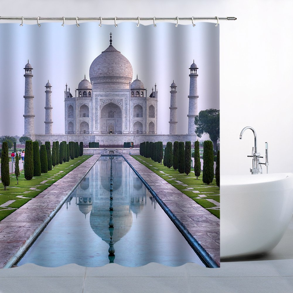 Feierman Taj Mahal Shower Curtain Decor Landmark Building Thai Castle Bathroom Curtain Machine Washable Mildew Resistant Waterproof with Hooks 70x70Inches