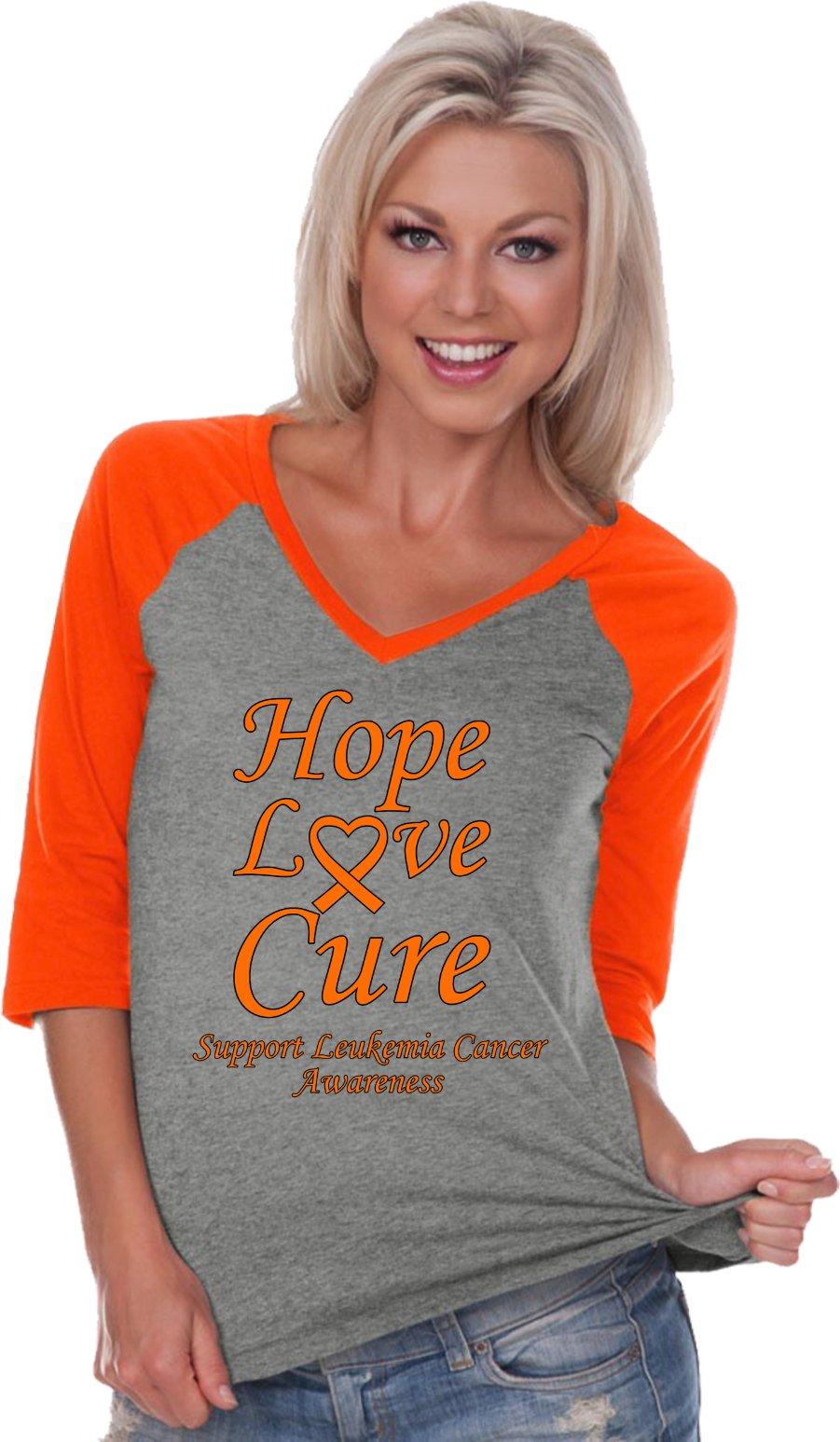 Ladies Leukemia Cancer Hope Love Cure V-neck Raglan, Grey Orange, Large
