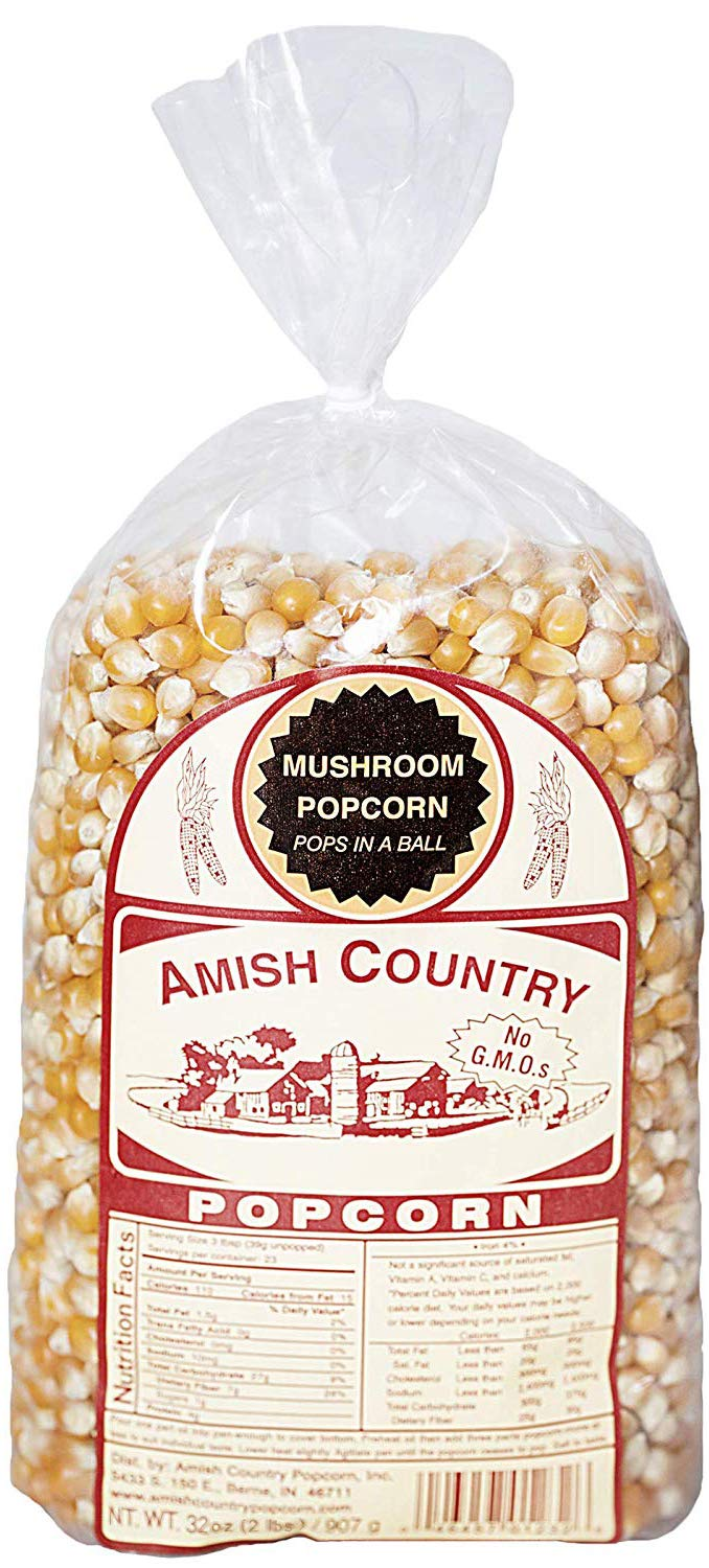 Amish Country Popcorn - Mushroom Popcorn (2 Pound Bag) With Recipe Guide - Old Fashioned, Non GMO, Gluten Free, Microwaveable, Stovetop and Air Popper Friendly