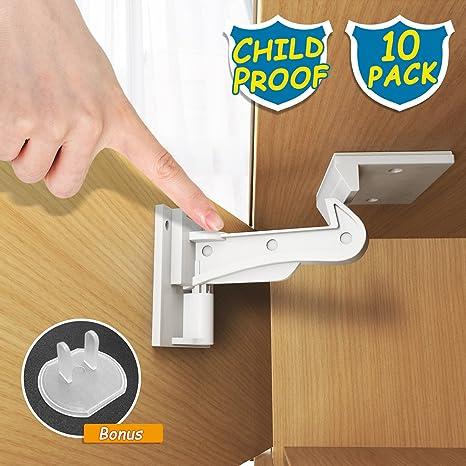 Child Safety Cabinet Locks, WeGuard 10 Pack No Drilling Adhesive Baby Proof  Drawer Locks Hidden Baby Safety Cabinet Latches Locks for Kitchen Cabinet  ...