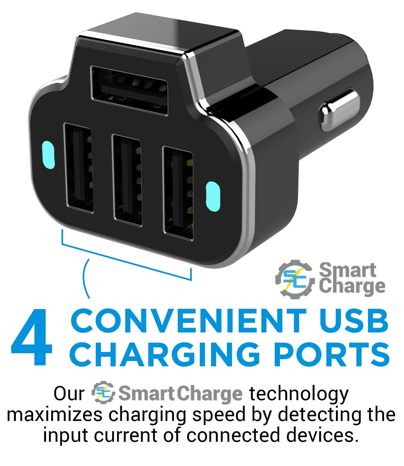 12V Fast Car Charger USB Adapter Power Station 5.2A//26W Output Black Aduro 4 Port Car Charger Adapter