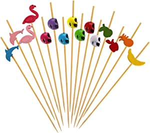 Yarlung 400 Counts 4.7 Inch Cocktail Picks, Handmade Bamboo Toothpicks for Appetizer, Finger Foods Display, Party Supplies, Multicolor Decoration, Flamingo, Dolphin, Fruits, Skull