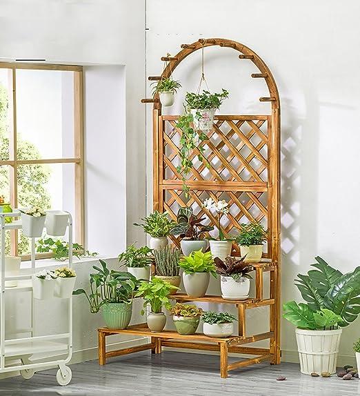 ZENGAI Colgando Macetero Interior Chlorophytum Cama De Flores De Escalera Balcón Madera De Pino Multi Tiers Carbonizar Plantas Soporte De Exhibición Jardinería (Tamaño : 90x50x170cm): Amazon.es: Jardín