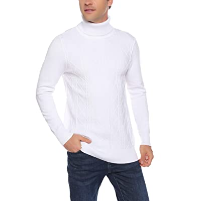Aibrou Men Turtleneck Sweater Long Sleeve Knitted Casual Slim Fit Pullover Sweater Tops at Men's Clothing store