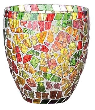 Unbekannt Windlicht Windlichthalter Teelichthalter Glas Mosaik