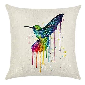 gluckliy colorido pájaro patrón funda de almohada manta ...