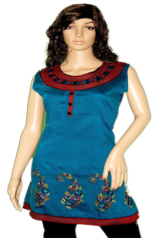 Ladies Blue Silk Cotton Tunic Multi Color Embroidered Dress