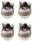 Shatterproof Christmas Tree Ornaments with Buttons, Pinecones, and Berries by Clever Creations | Large Silver 80mm Christmas Decor | 4 Piece Set Perfect for Christmas Decorations
