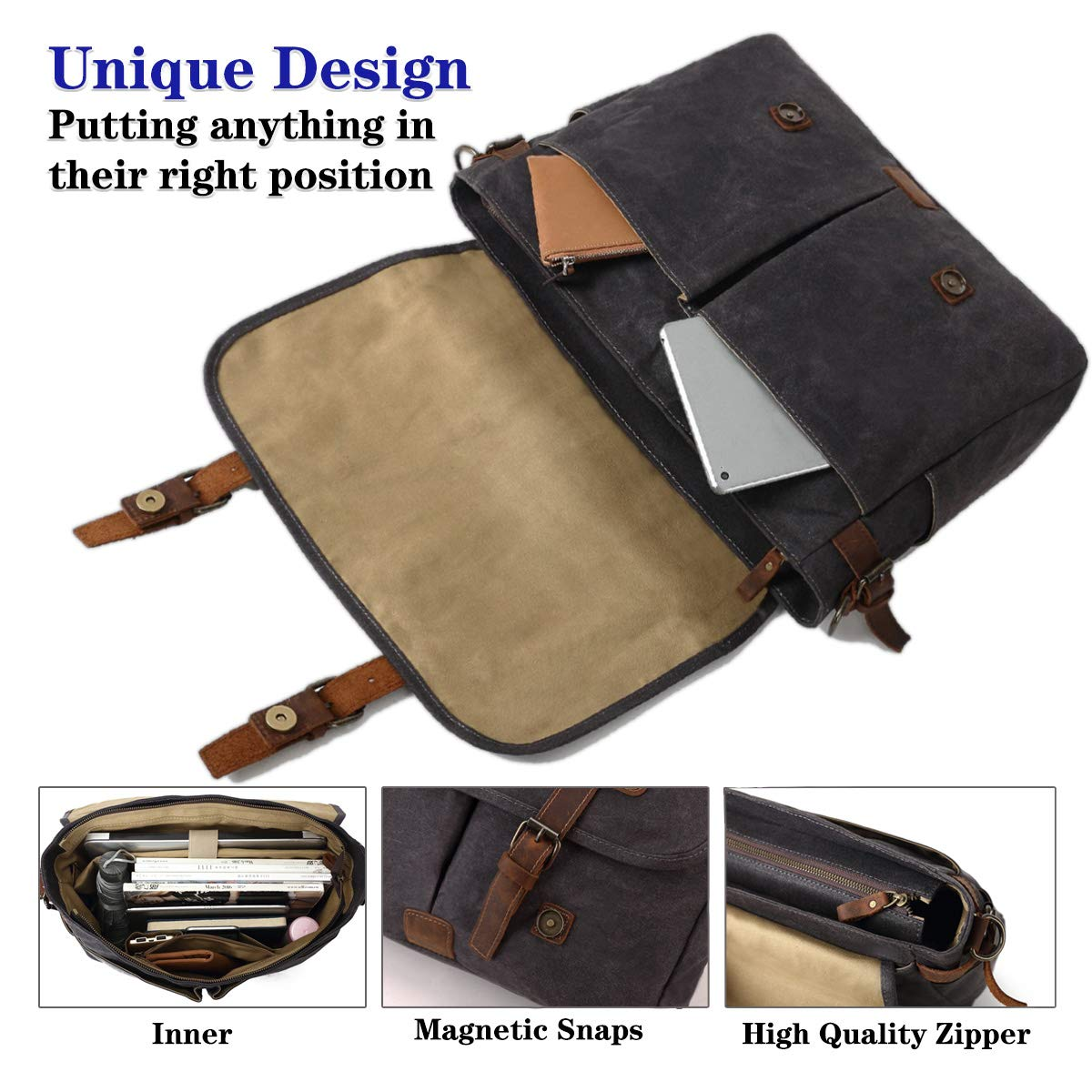 SOAEON Mens Messenger Bag,Laptop Bag 15.6 inch,Waterproof Vintage Canvas Briefcase, Leather Computer Bag for Business&School Travel Grey by SOAEON (Image #5)