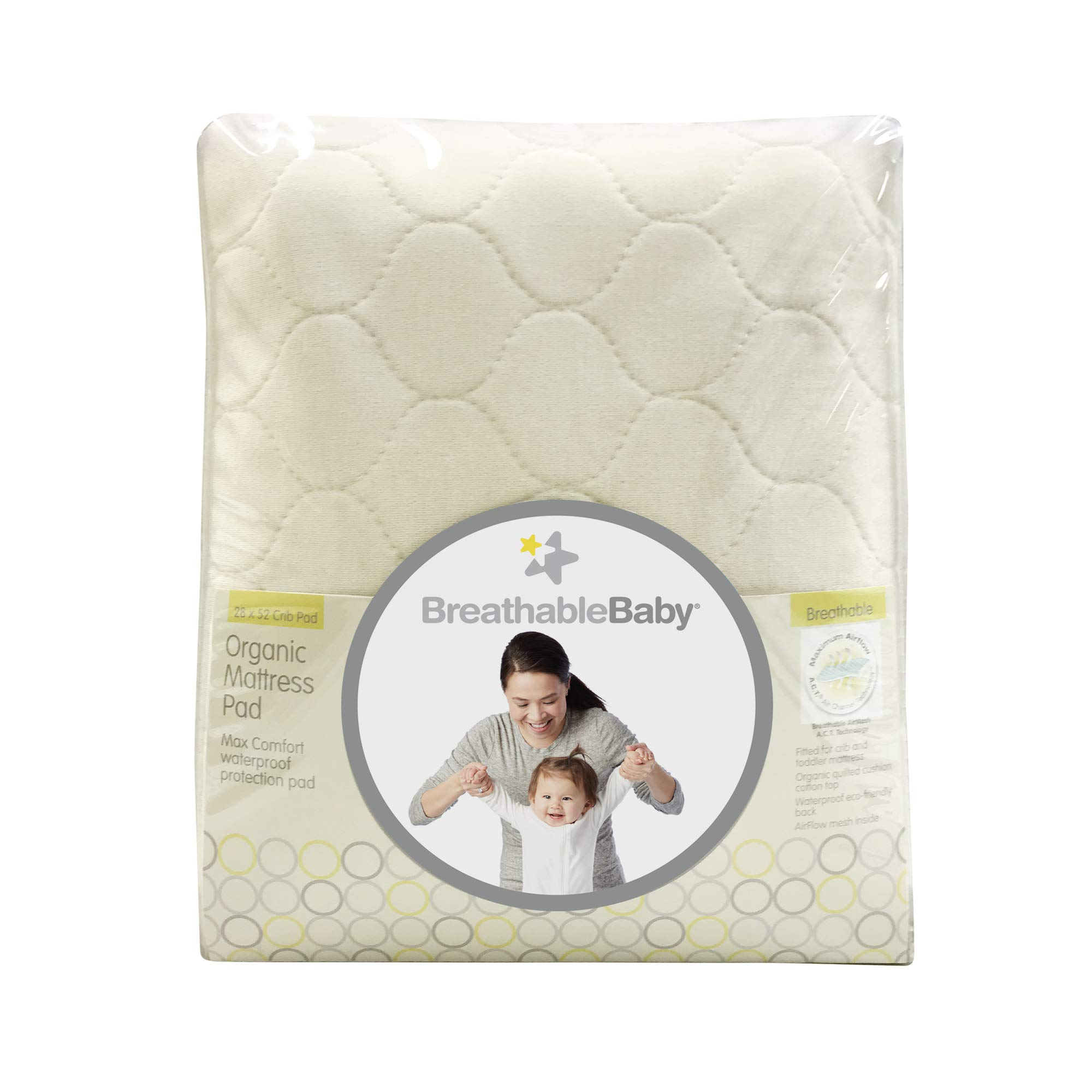 BreathableBaby Premium Organic Fitted, Quilted Mattress Cover and Pad, 100% Waterproof, 28'' x 52'' by BreathableBaby