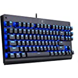 EagleTec KG040 Backlit Mechanical Gaming Keyboard, Blue Switches, Solid durable Construction, Stylish Blue Backlit Keys, 87 Standard keys