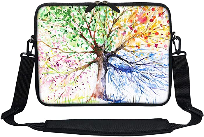 Meffort Inc 11 11.6 12 Inch Neoprene Laptop Sleeve Bag Carrying Case with Hidden Handle and Adjustable Shoulder Strap (Four Seasons Tree)