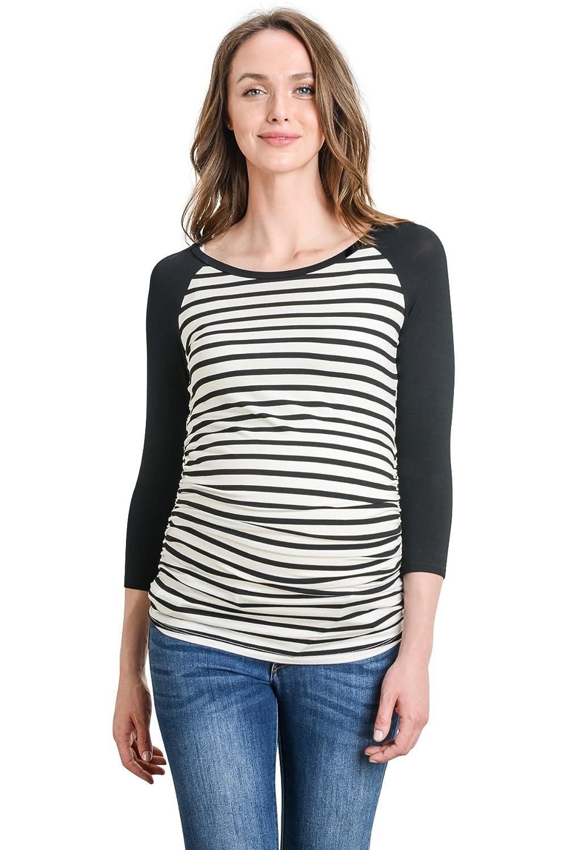 Black Ivory Stripe LaClef Women's Maternity TShirts Top with Baseball Raglan