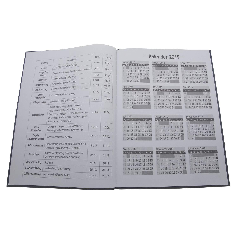 2x Terminplaner Buchkalender A5 für 2020 in schwarz Kalender Chefplaner Planer