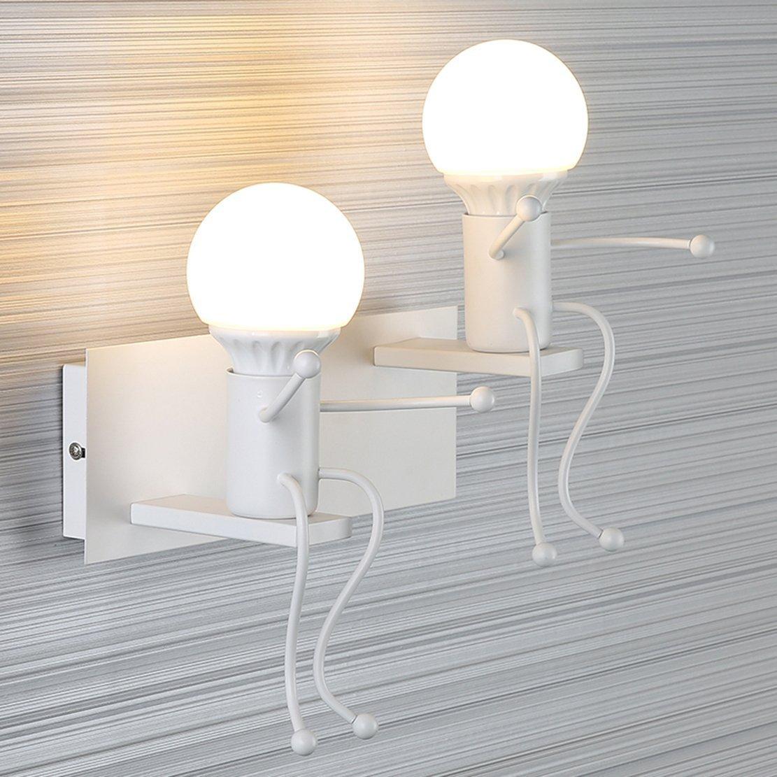 FSTH Créatifs Applique Murale Rétro Fer Vintage Lampe murale Moderne Individuels Applique Métal Lampe pour Bar, Chambre à Coucher, Cuisine, Restaurant, Café, Couloir E27 (Noir-2)