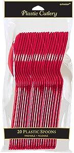 Vibrant Apple Red Plastic Spoons, 20 Ct.