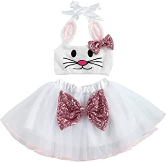 Toddler Baby Girl Easter Bunny Outfit Sequined Halter Sleeveless Romper Dress Tutu Bodysuit One-Piece Jumpsuit Playsuit