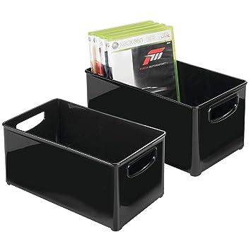 mDesign Juego de 2 cajas organizadoras para DVD, CD y videojuegos – Práctica caja para