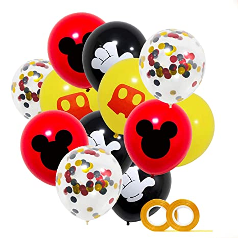 Mickey Party Globos 40 Pack,12 pulgadas Globos de látex Rojo Negro Amarillo Color Confetti