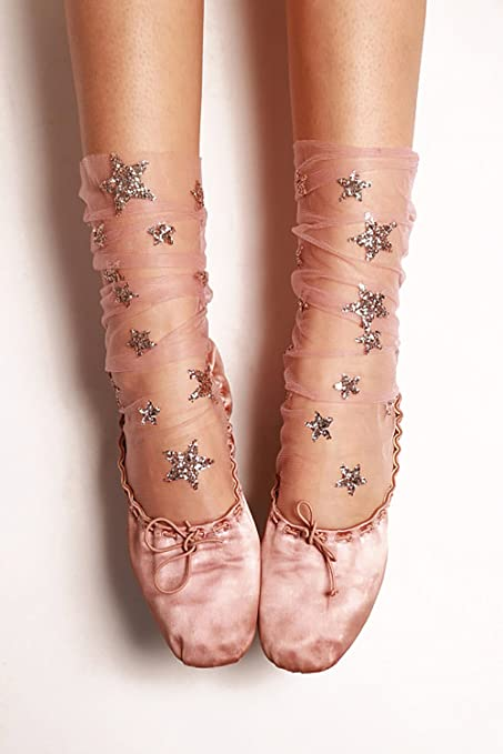 Amazon.com : FXmimior Fashion Women Hot Glitter and Stars See-Thru Tulle Socks (pink) : Beauty