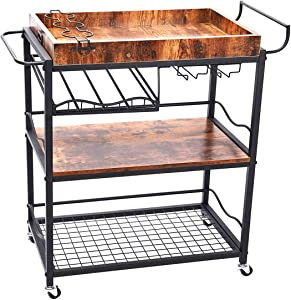 COOLBEBE Bar Cart for Home, Kitchen Serving Rolling Metal Wood Wine Cart with Handle Rack and Removable Wood Container, 26.5L x 18W x 35.5H