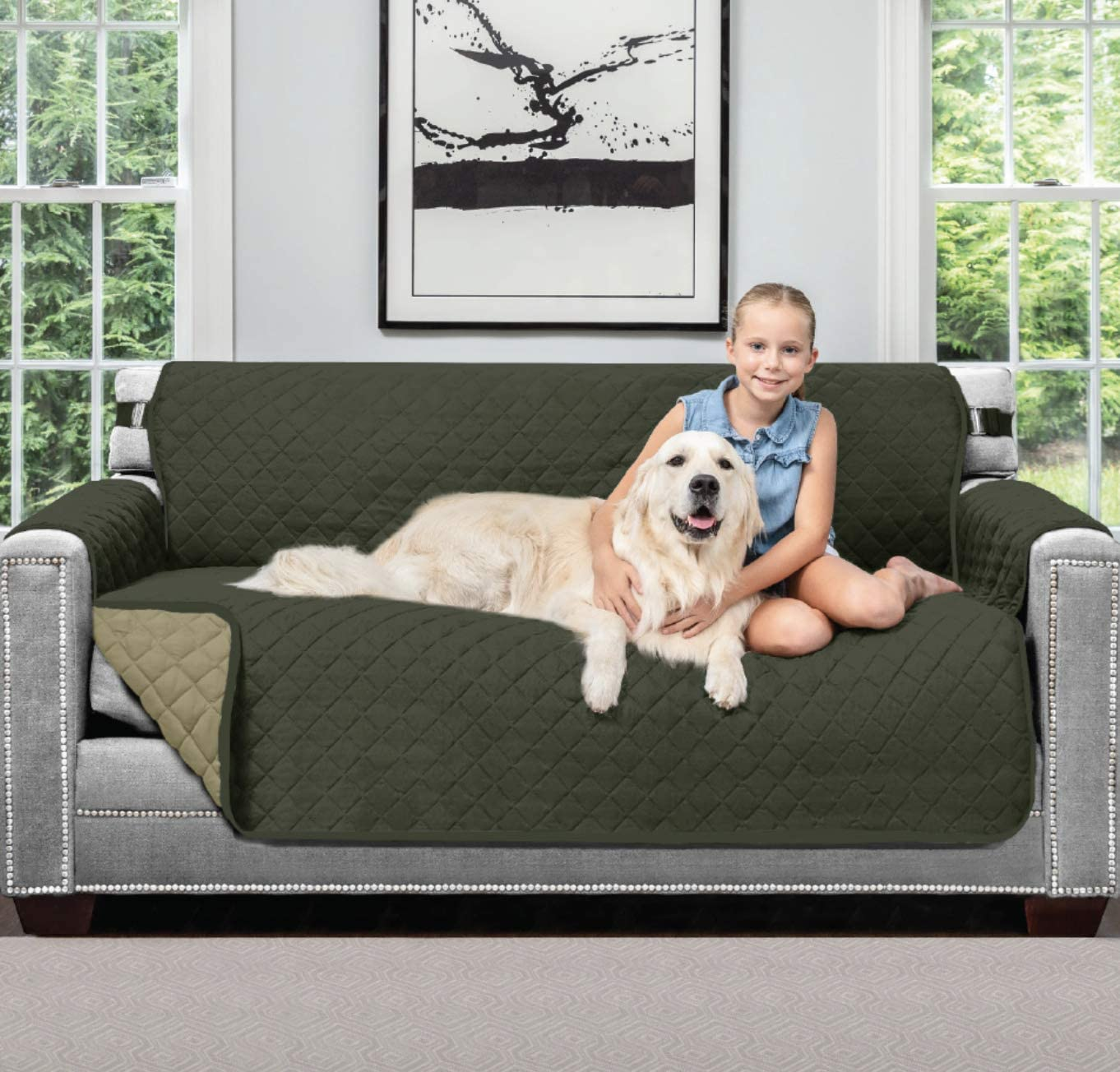 Sofa Shield Original Patent Pending Reversible Small Sofa Slipcover, 2 Inch Strap Hook, Seat Width Up to 62 Inch Washable Furniture Protector, Couch Slip Cover for Pets, Small Sofa, Hunter Green Sage