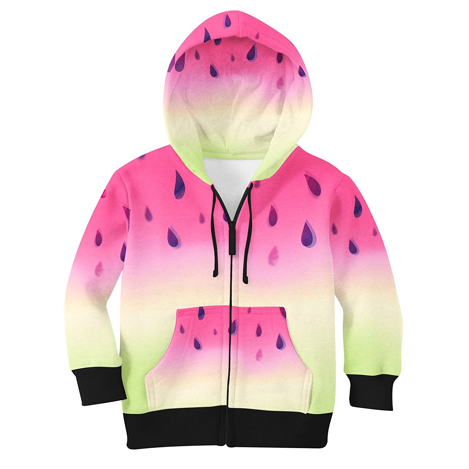 10 Watermelon Ombre Kids Zip Up Hoodie Unisex