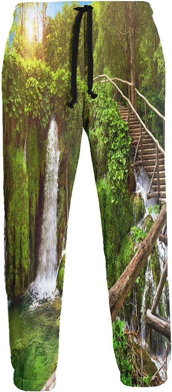 Olverz Pantalones de chándal para hombres Bosque Cascada Paisaje Cintura Elástica Jogger Pantalones Durable Pantalones de chándal