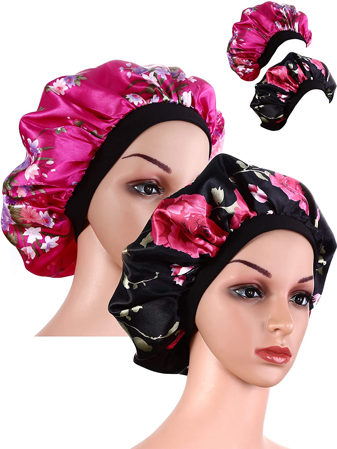 2 Pieces Wide Band Satin Cap Sleep Bonnet Soft Night Sleep Hat Women Girls (Black and Rose red) Blulu